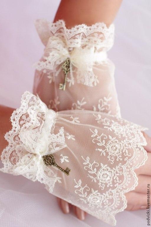 Перчатки. Кружевной манжет свадебные перчатки митенки свадебные перчатки невесты