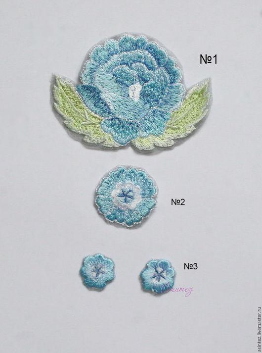 Аппликации, вставки, отделка ручной работы. Ярмарка Мастеров - ручная работа. Купить вышивка аппликация Нежные голубые цветы в лубочном стиле нашивка. Handmade.