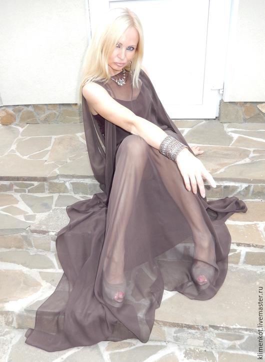 Платья ручной работы. Ярмарка Мастеров - ручная работа. Купить платье Горький шоколад. Handmade. Коричневый, вечер, длинное платье