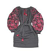 """Одежда handmade. Livemaster - original item Платье-вышиванка """"Чудо-Дерево"""" серое. Handmade."""