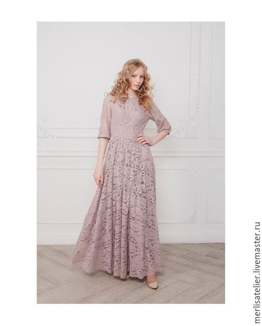 Платья ручной работы. Ярмарка Мастеров - ручная работа. Купить Нежно-розовое кружевное платье в пол. Handmade. Бледно-розовый
