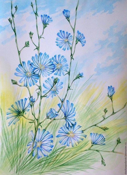 """Картины цветов ручной работы. Ярмарка Мастеров - ручная работа. Купить картина """"Цикорий"""". Handmade. Картина, картина с цветами, для интерьера"""