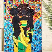 Картины и панно handmade. Livemaster - original item Mother children painting mosaic. Afro Mom kids, Gustav Klimt style. Handmade.