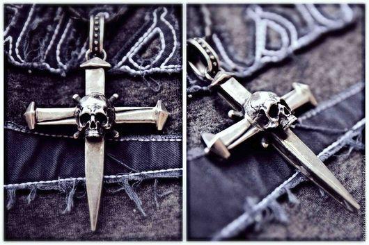 Кулоны, подвески ручной работы. Ярмарка Мастеров - ручная работа. Купить Крест с черепом. Handmade. Серебряный, серебряный череп