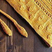 Аксессуары ручной работы. Ярмарка Мастеров - ручная работа Вязаный бактус (мини шаль) Листопад (рыжий меринос и шёлк). Handmade.