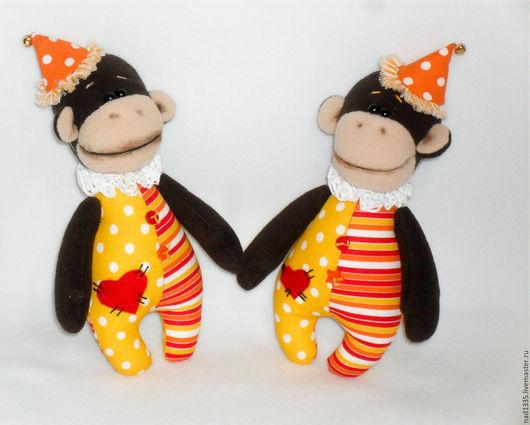Игрушки животные, ручной работы. Ярмарка Мастеров - ручная работа. Купить Цирковая обезьянка. Handmade. Разноцветный, мягкая игрушка обезьяна