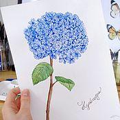 Картины и панно handmade. Livemaster - original item Pictures: Flower hydrangea watercolor. Handmade.