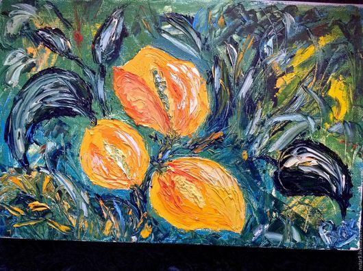 Картины цветов ручной работы. Ярмарка Мастеров - ручная работа. Купить Райские цветы.Масло.. Handmade. Оранжевый, недорогая картина