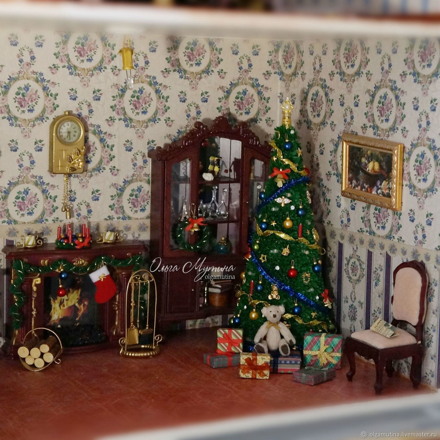 toy miniatures handmade livemaster handmade buy tree with christmas decorations and a garland - Christmas Tree With Garland