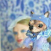 Куклы и игрушки ручной работы. Ярмарка Мастеров - ручная работа Леди в голубом с собачкой. Handmade.