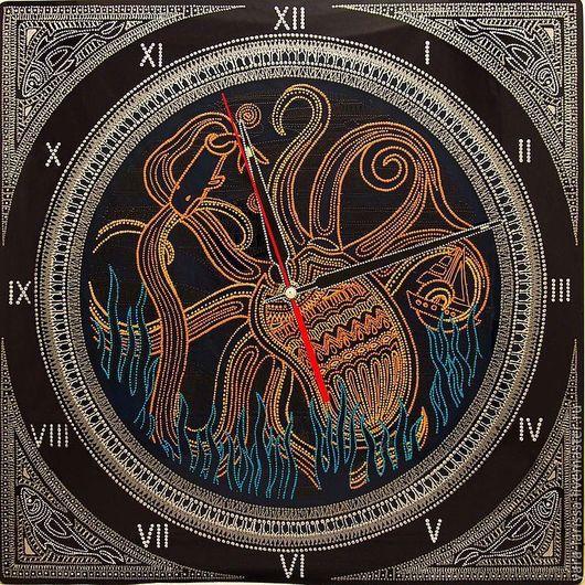 """Часы для дома ручной работы. Ярмарка Мастеров - ручная работа. Купить Часы """"Кракен"""" настенные интерьрные. Handmade. Часы настенные"""