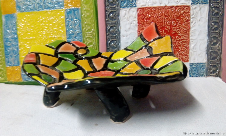 Керамическая мыльница на ножках Мозаика, Мыльницы, Дзержинский,  Фото №1