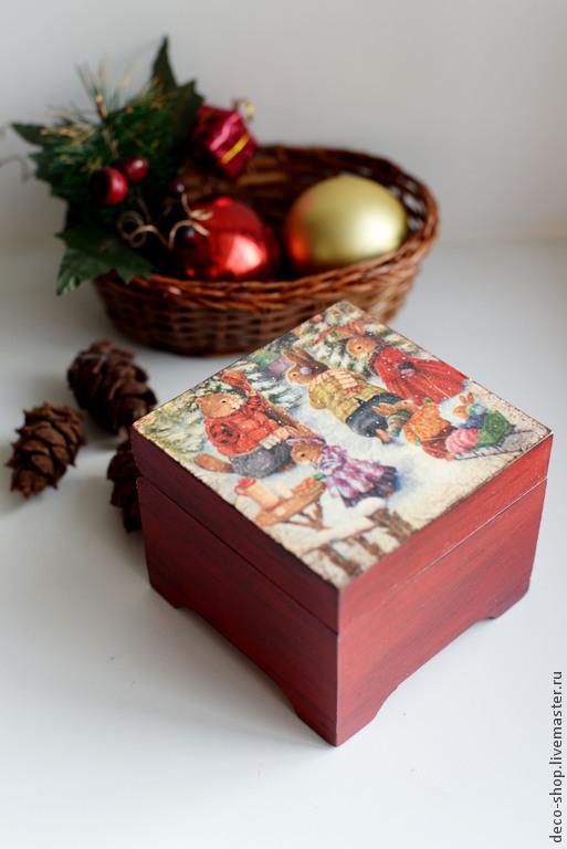 """Шкатулки ручной работы. Ярмарка Мастеров - ручная работа. Купить Шкатулка """"Зимняя прогулка"""". Handmade. Ярко-красный, шкатулка декупаж"""