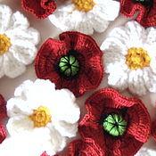 Материалы для творчества handmade. Livemaster - original item FLOWERS KNITTED applique volumetric poppies, chamomiles..... Handmade.