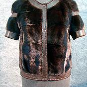 Одежда ручной работы. Ярмарка Мастеров - ручная работа Жилет из норки (махагон). Handmade.
