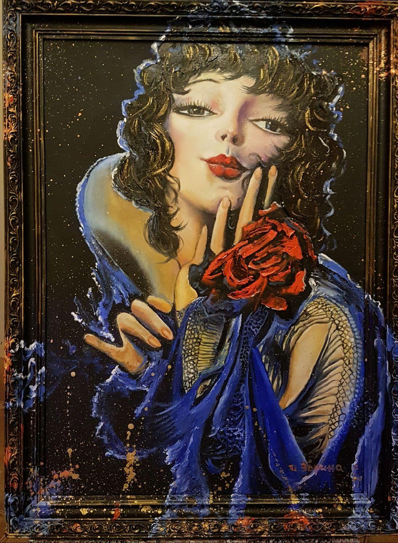 La Dama En El Estilo Pin Up Pintura Al óleo Shop Online On