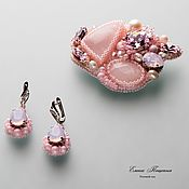 Украшения handmade. Livemaster - original item Rose garden. Brooch and earring with rose quartz and Swarovski.. Handmade.