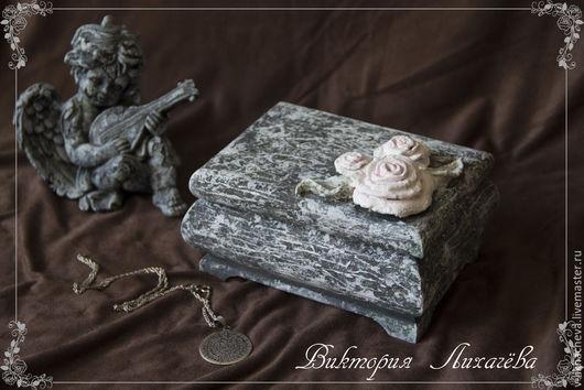 "Шкатулки ручной работы. Ярмарка Мастеров - ручная работа. Купить Шкатулка ""Каменная роза"". Handmade. Серый, роза, имитация мха"