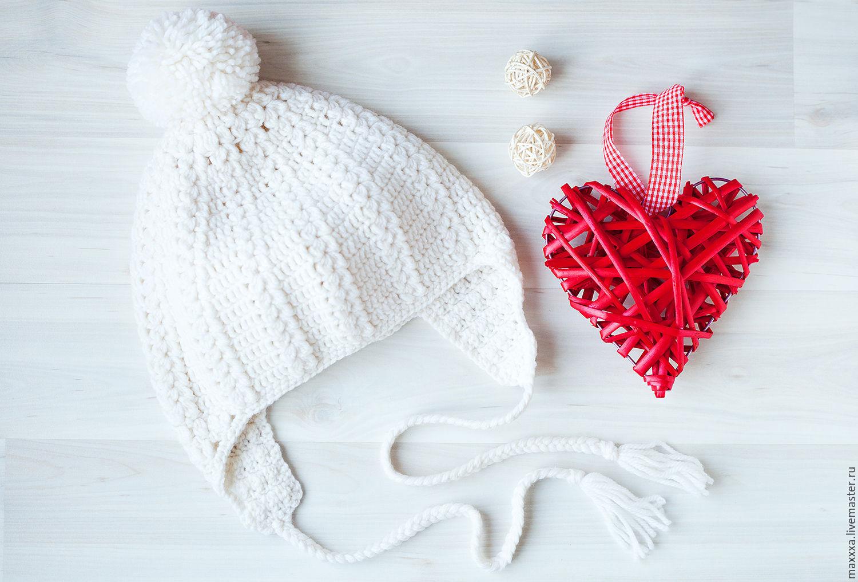Beanie knitted crochet white photo shoot on Valentine's day, Caps, Ryazan,  Фото №1