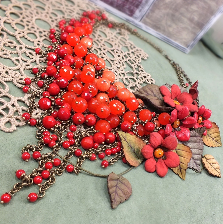 Fiery Parfait. Necklace made of natural stones, colors of leather, Necklace, St. Petersburg,  Фото №1
