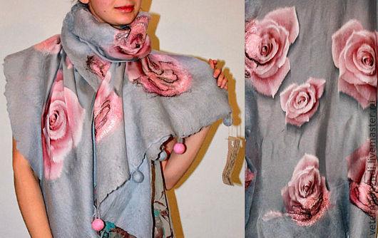 """Шали, палантины ручной работы. Ярмарка Мастеров - ручная работа. Купить Палантин """"Пепел и розы"""". Handmade. Палантин, оригинальный подарок"""