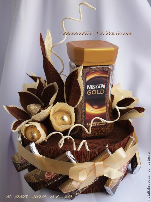 Букет из кофе и конфет для мужчины своими руками