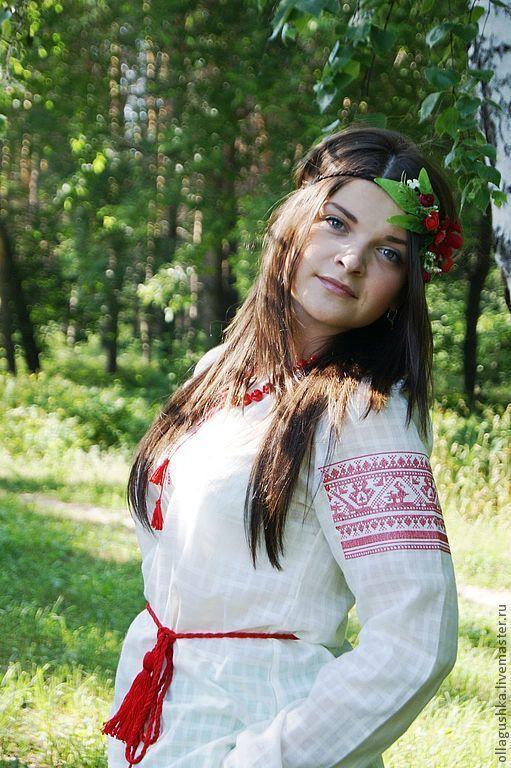 """Одежда ручной работы. Ярмарка Мастеров - ручная работа. Купить Рубаха славянская """"Жива"""". Handmade. Белый, Вышивка крестом"""