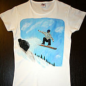 "Одежда handmade. Livemaster - original item T-shirt ""The Snowboarder"", hand-painted. Handmade."
