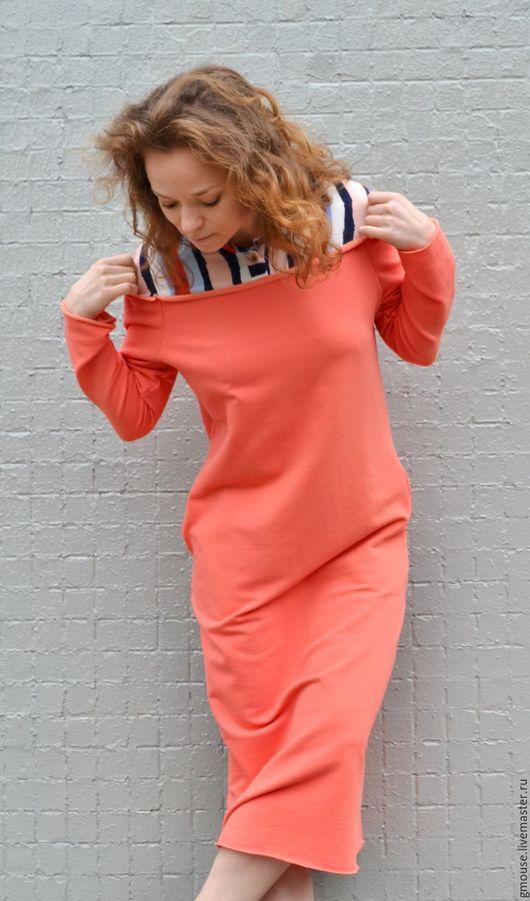 """Платья ручной работы. Ярмарка Мастеров - ручная работа. Купить Платье """"на рубашке"""" ПЕРСИК. Handmade. Однотонный, трикотажное платье"""