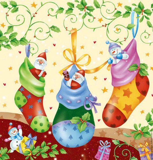 Декупаж и роспись ручной работы. Ярмарка Мастеров - ручная работа. Купить ост 4 шт Салфетка Дед морозики в носочках. Handmade.