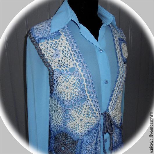 Жилеты ручной работы. Ярмарка Мастеров - ручная работа. Купить Жилет Lady in blue. Handmade. Комбинированный, жилетка, серый