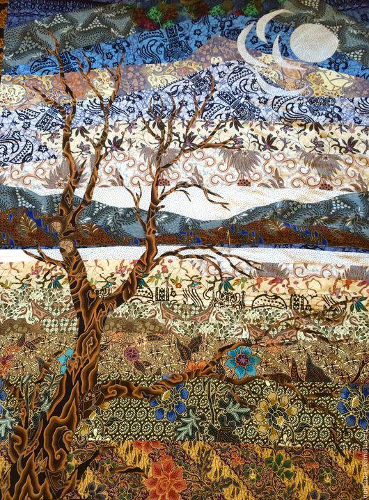"""Текстиль, ковры ручной работы. Ярмарка Мастеров - ручная работа. Купить """"Балийское дерево""""  лоскутное  одеяло. Handmade. Пэчворк, убуд"""