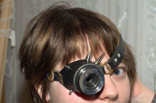 Аксессуары ручной работы. Ярмарка Мастеров - ручная работа. Купить Моногоггл из советского фотообъектива. Handmade. Черный, очки, шестеренки, паропанк