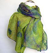 "Аксессуары handmade. Livemaster - original item Палантин валяный ""Оливия"" мериносовый шелковый шарф. Handmade."