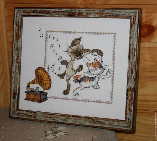 """Фэнтези ручной работы. Ярмарка Мастеров - ручная работа. Купить Вышитая картина""""Кошачий вальс"""". Handmade. Комбинированный, Вышивка крестом"""