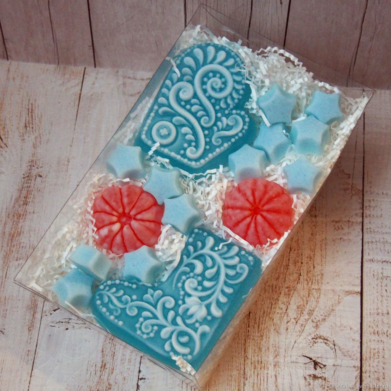 Новогодний набор мыла ручной работы в голубом, Мыло, Москва,  Фото №1