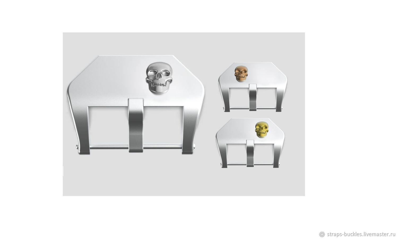 Часовая пряжка (бакля) из серебра со вставкой Череп 22,24 мм, Часы наручные, Москва,  Фото №1