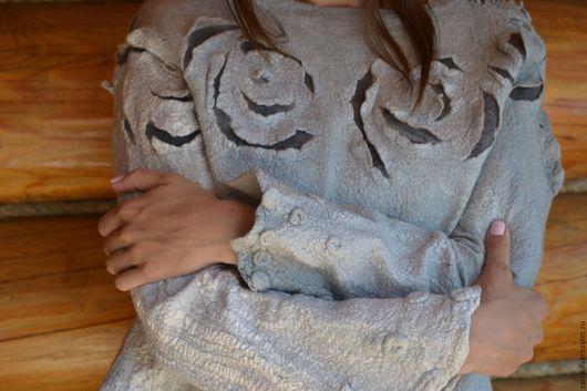 """Кофты и свитера ручной работы. Ярмарка Мастеров - ручная работа. Купить Валяный свитер """" Серый жемчуг"""". Handmade. Серый"""