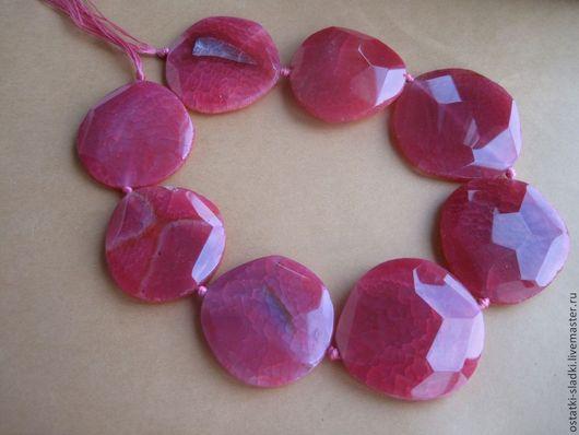 Для украшений ручной работы. Ярмарка Мастеров - ручная работа. Купить Агат розовый очень крупный граненый бусины плоские. Handmade.