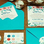 Свадебный салон ручной работы. Ярмарка Мастеров - ручная работа Бирюзовые акварельные цветы - приглашения на свадьбу. Handmade.