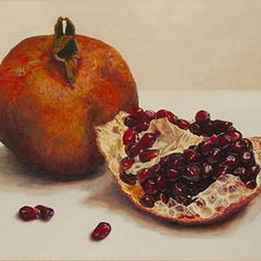 """Картины и панно ручной работы. Ярмарка Мастеров - ручная работа """"Король фруктов"""",  гранаты, картина маслом, натюрморт. Handmade."""