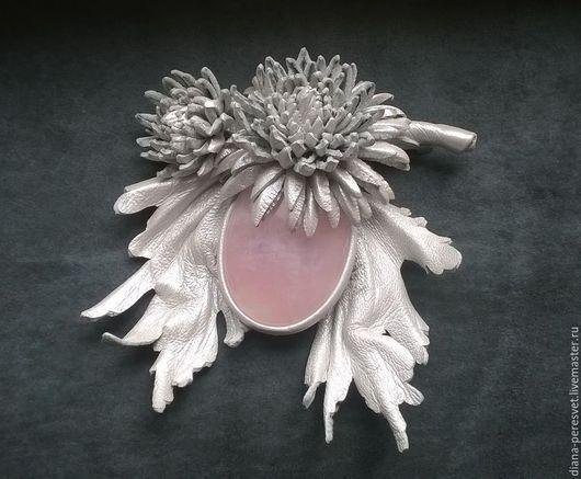 """Броши ручной работы. Ярмарка Мастеров - ручная работа. Купить Брошь """"Розовый лед"""". Handmade. Бледно-розовый, брошь с камнем"""