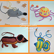 Вязаные игрушки,слингоигрушки,амигуруми(рыбка, осьминог,собака,мышонок