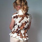 """Одежда ручной работы. Ярмарка Мастеров - ручная работа эко-жилет с альпакой """"Variegated lambskin"""". Handmade."""