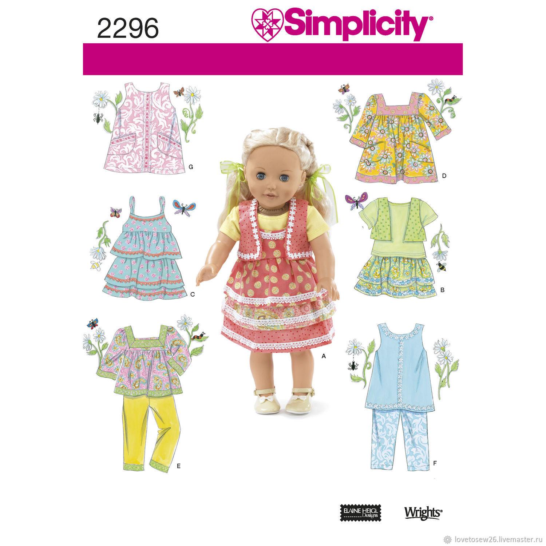 S2296 Выкройки одежды для кукол 45 см платья брюки топы юбки, Выкройки для шитья, Санкт-Петербург,  Фото №1