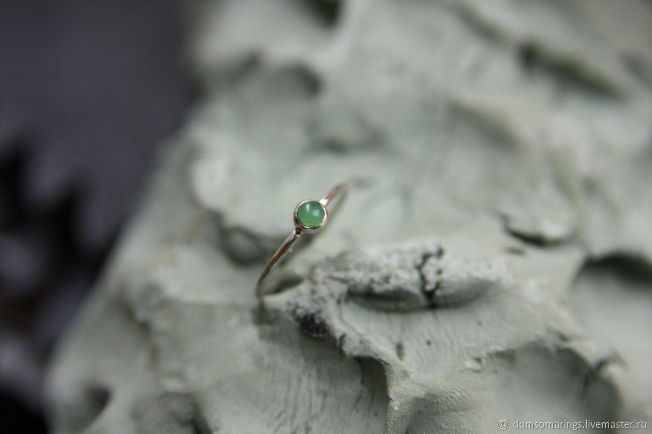 Тонкое кольцо из серебра с хризопразом, Кольца, Санкт-Петербург,  Фото №1