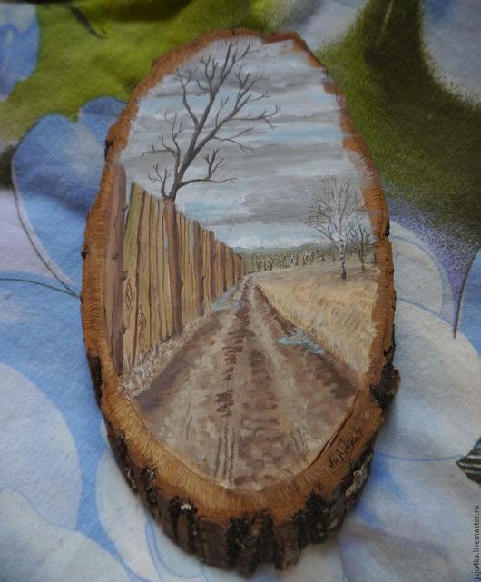 """Пейзаж ручной работы. Ярмарка Мастеров - ручная работа. Купить """"Дорога. Ранняя весна"""" картина на спиле дерева. Handmade. Коричневый"""