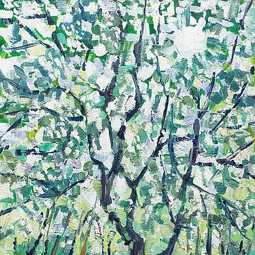 Картины и панно ручной работы. Ярмарка Мастеров - ручная работа «Пронизанная светом» Картина маслом пейзаж весна. Handmade.