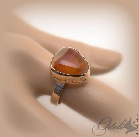 Кольца ручной работы. Ярмарка Мастеров - ручная работа. Купить Золотое кольцо с сердоликом Honey. Handmade. Рыжий, сердолик