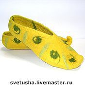 Обувь ручной работы handmade. Livemaster - original item Yellow Felted Slippers